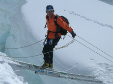 Ladders and crevasses on Khumbu glacier